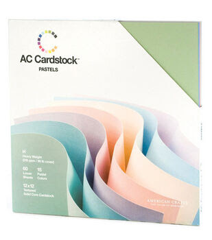 American Crafts 12inchesx12inches Cardstock Packs - 60PK - Pastels