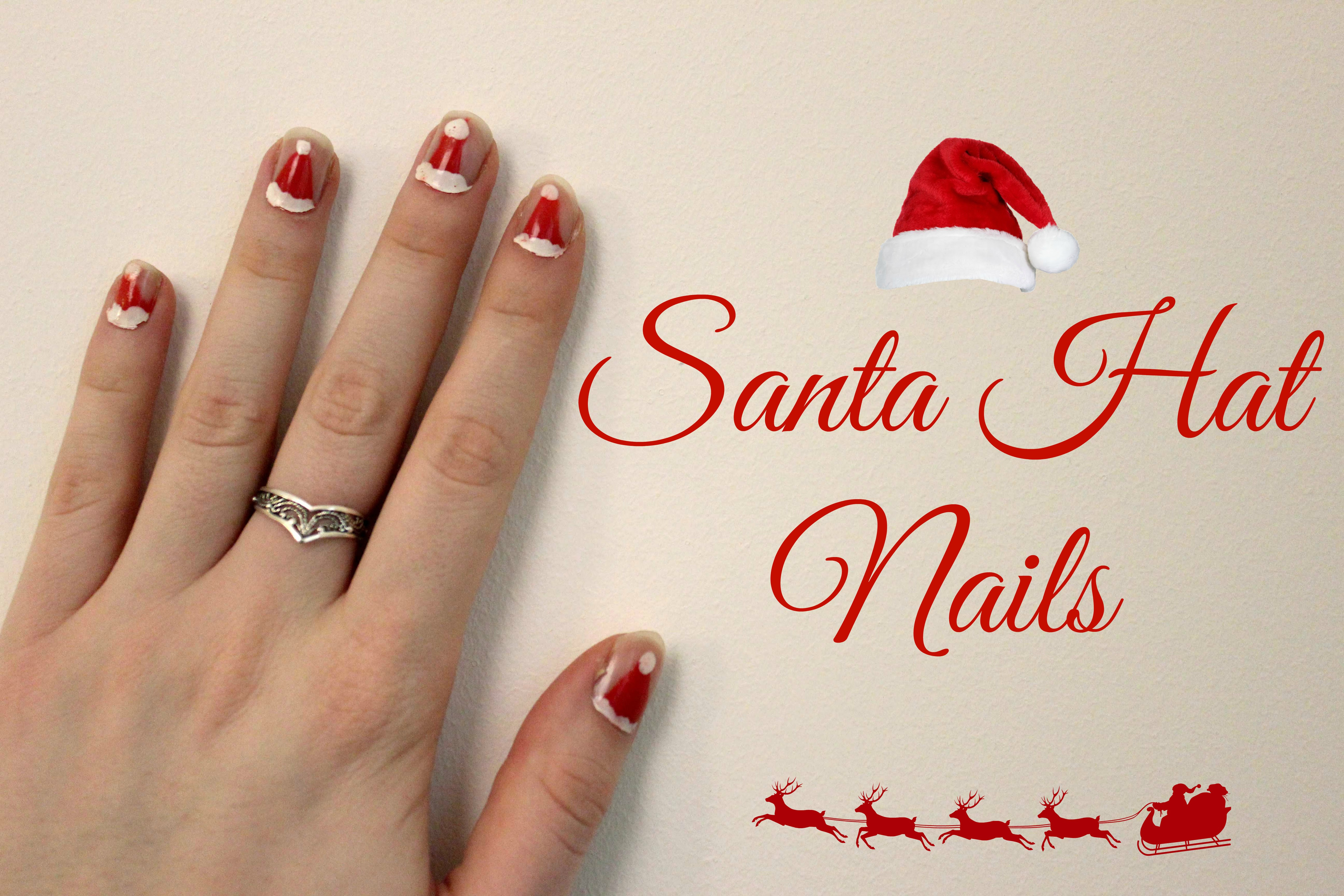 Santa hat nail art design
