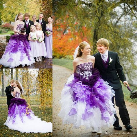 Purple And White Ombre Gothic Wedding Dresses Strapless