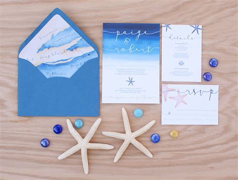 Ocean themed wedding invitation with a wedding map