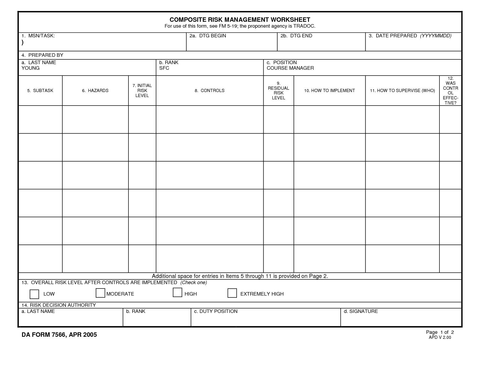 Army Deliberate Risk Assessment Worksheet Example Worksheet List