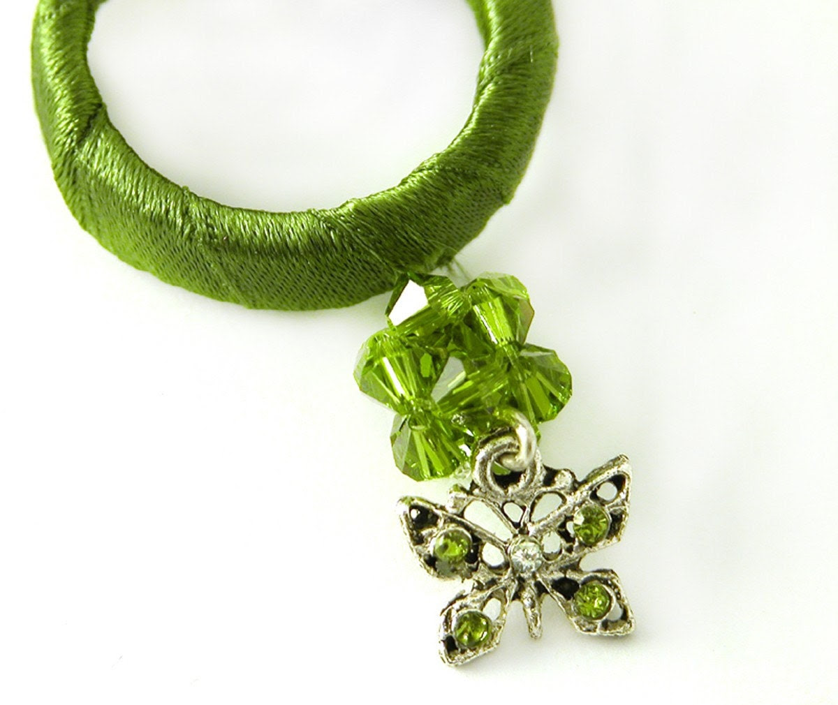 green necklace ,silver butterfly necklace,Silver Necklace with green Satin Hoop and butterfly pendant,Modern Unique Design