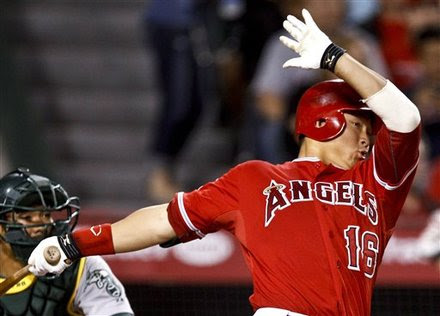 Los Angeles Angels' Hank Conger Watches