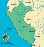 Thumbnail of Map of Peru. Sites for study of Mayaro virus–infected patients are marked with a dot.