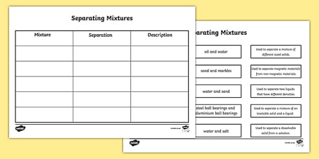 Separating Mixtures Matching Worksheet  separating mixtures