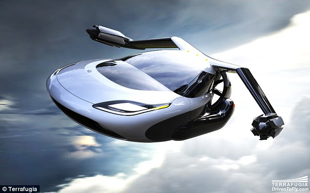 Terrafugia's concept vehicle - which doubles as both a plane and a land vehicle - has fold-out wings with twin electric motors attached to each end