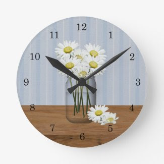 Mason Jar Of Daisies Wall Clock