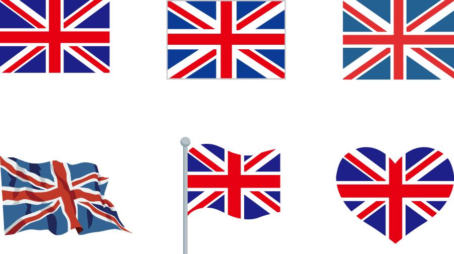 フリーイラスト 6種類のイギリスの国旗のセットでアハ体験 Gahag