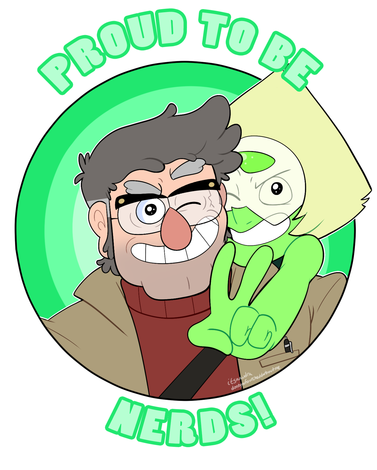 this is somethin' old i did for my old Steven Universe/Gravity Falls crossover, Grunkle Universe. you can get this as a sticker or on a shirt if you'd like
