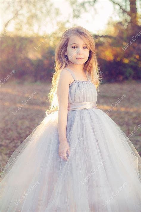 Sleeveless Custom Made Tulle Flower Girl Dress Spaghetti