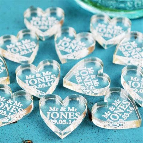 Personalised Heart Wedding Favours And Wedding Table