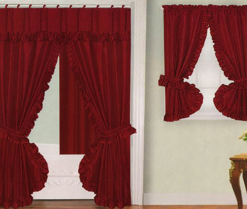 Double Swag Shower Curtain Promotion: Cheap Deals Burgundy