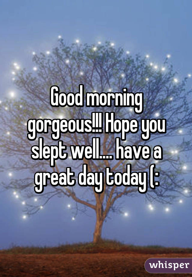 Good Morning Gorgeous Hope You Slept Well Have A Great Day