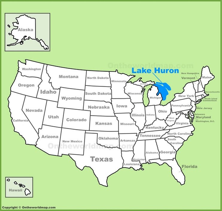 lake huron location on the us map max