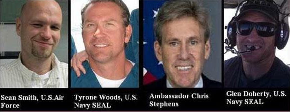 Never forget the four Americans who died in Benghazi: Ambassador Chris Stevens, Sean Smith, Glen Doherty and Tyrone Woods. May their memories be eternal.