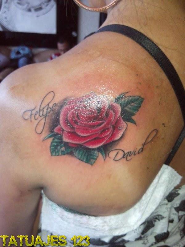 Rosa Con Dos Nombres Tatuajes 123