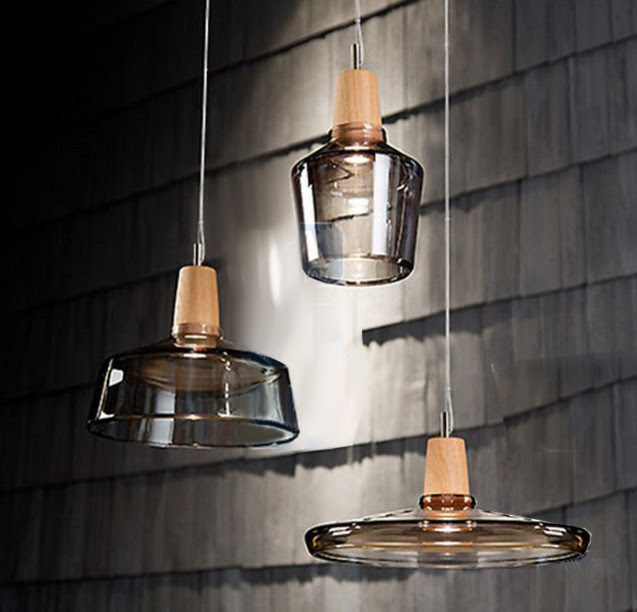 Modern Clear Glass and Wood Cap Pendant Lighting - contemporary ...