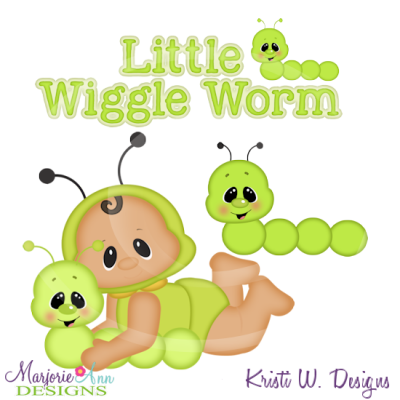 Little Wiggle Worm Cutting Files Includes Clipart
