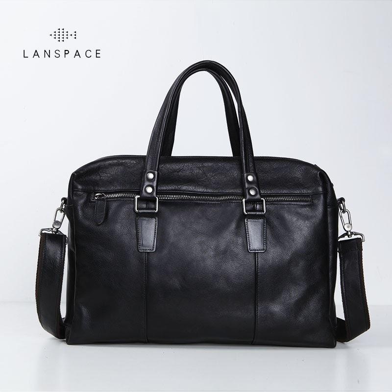Buy LANSPACE men's leather briefcase brand high quality cow leather business handbag messenger bag men leather