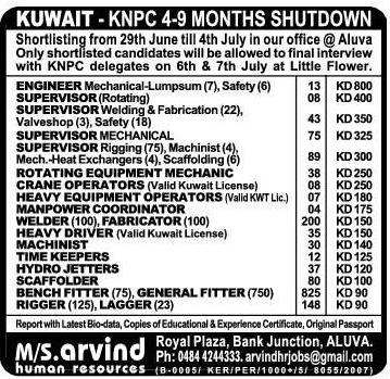 Kuwait KNPC shutdown job vacancies - LATEST JOBS