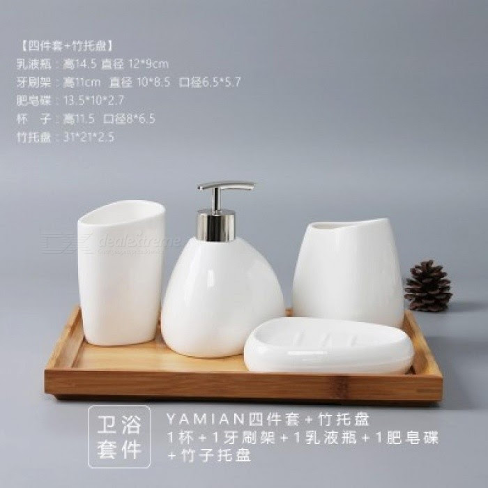 China Six Piece Set Ceramics Bathroom Accessories Set Soap Dispenser