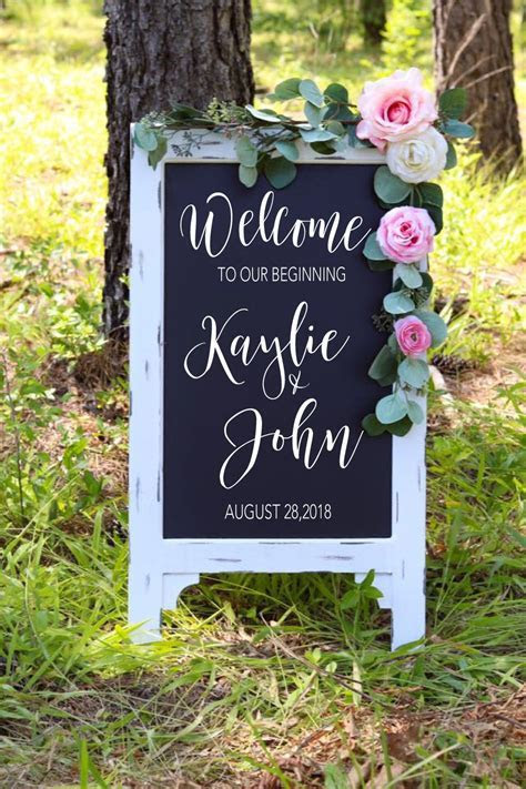 Welcome To Our Beginning Sign Wedding Chalkboard Aisle