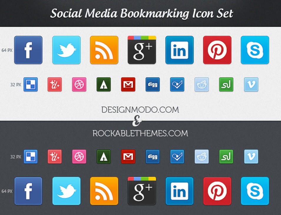 Sociality Lite – Free Social Media Icon Set (PNG)