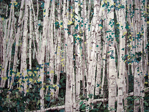 """fullbloom:  verdantdruid:  tobia:  Marcel Odenbach(German, born 1953)You Can't See the Forest for the Trees2003. Cut-and-pasted printed paper, cut-and-pasted colored paper, ink, and pencil on two pieces of paper, 853/4 x 1173/4"""" (217.8 x 299.1cm). The Judith Rothschild Foundation Contemporary Drawings Collection Gift. © 2009 Marcel Odenbach / Artists Rights Society (ARS), New York / VG Bild-Kunst, Germany Close up:  Images & Information viakatiephoto:"""