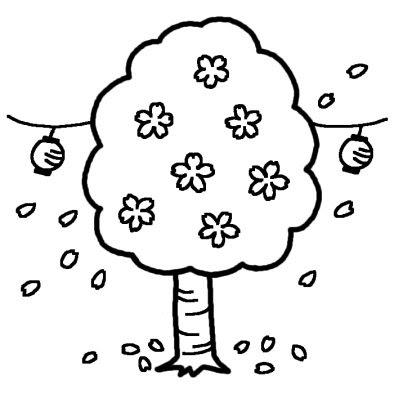 桜とぼんぼりお花見春の季節4月の行事無料白黒イラスト素材