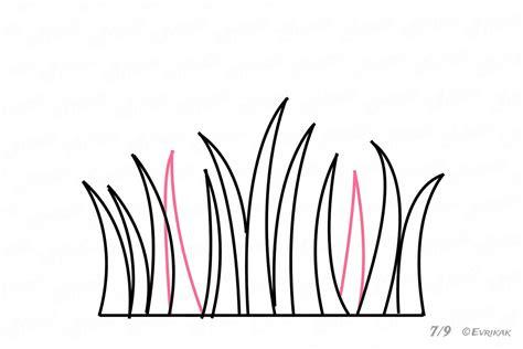 como dibujar la hierba paso  paso