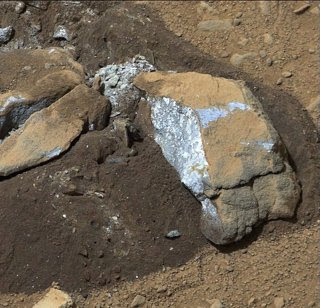 Piedra analizada en Marte