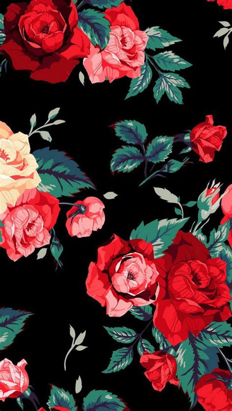 love red cute flowers wallpaper stylish floral background