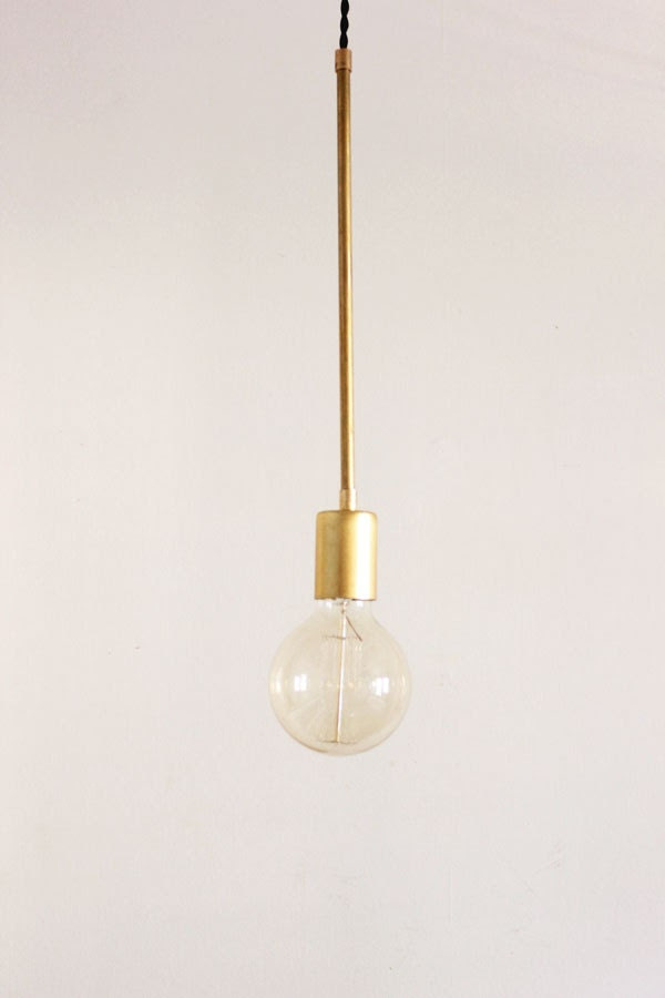 Brass Hanging Light, Vintage Modern Industrial Pendant Light - Globe - thevintagevoguestory