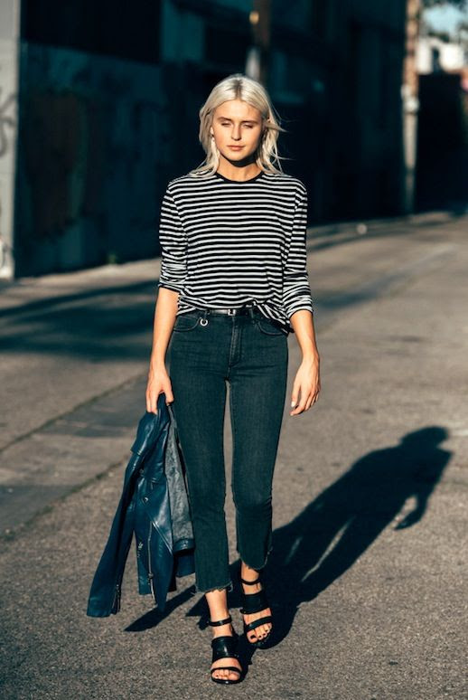 Le Fashion Blog Blogger Style Casual Cool Edgy Spring Look Striped Tee Navy Leather Moto Jacket Kick Flare Raw Hem Jeans Platform Sandals Via Fire On The Head