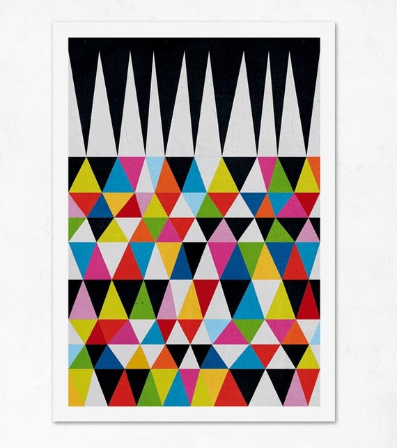 Triangles N.2. (colourful & black). Geometric large print (A3). (Special offer: Get a 2013 calendar for free)