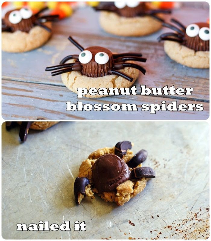 nailed it. > spider peanut butter blossoms  (plus 4 more attempts!)