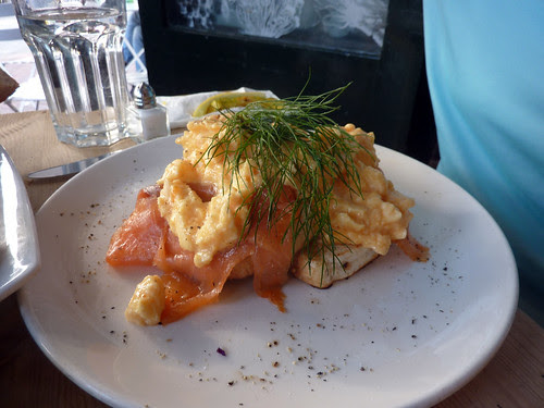 Smoked salmon and scrambled egg