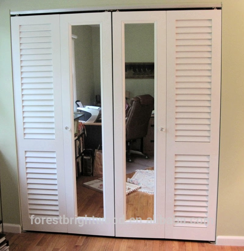 Gallery louvered sliding closet doors with mirrors