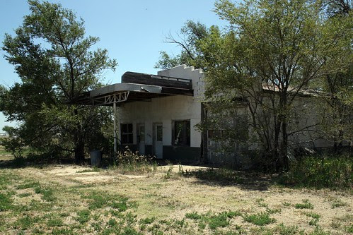 abandoned service station, adrian, texas
