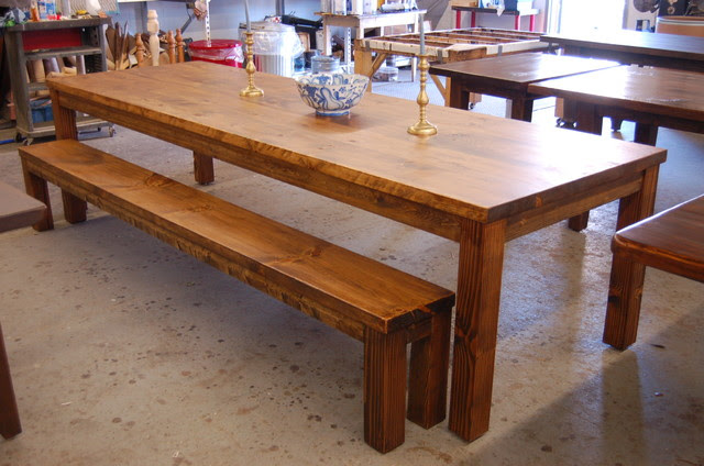Large Parsons Style Farm Table with Bench - modern - dining room ...