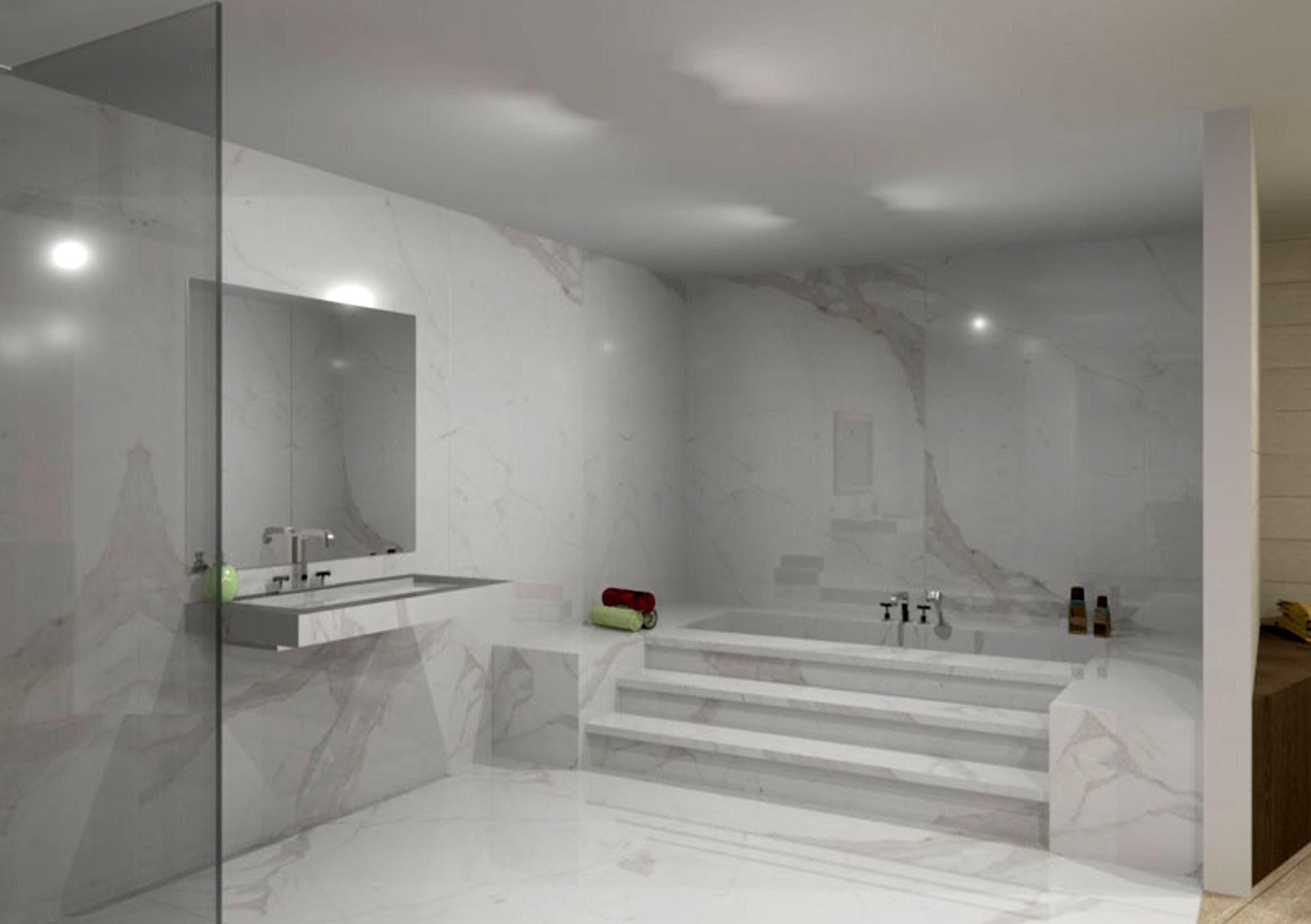 The contemporary bathroom with Stonepeak's porcelain floor ...