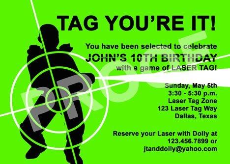 Paper Perfection Laser Tag Invitation