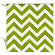 Green Chevron Shower Curtains | Green Chevron Fabric Shower