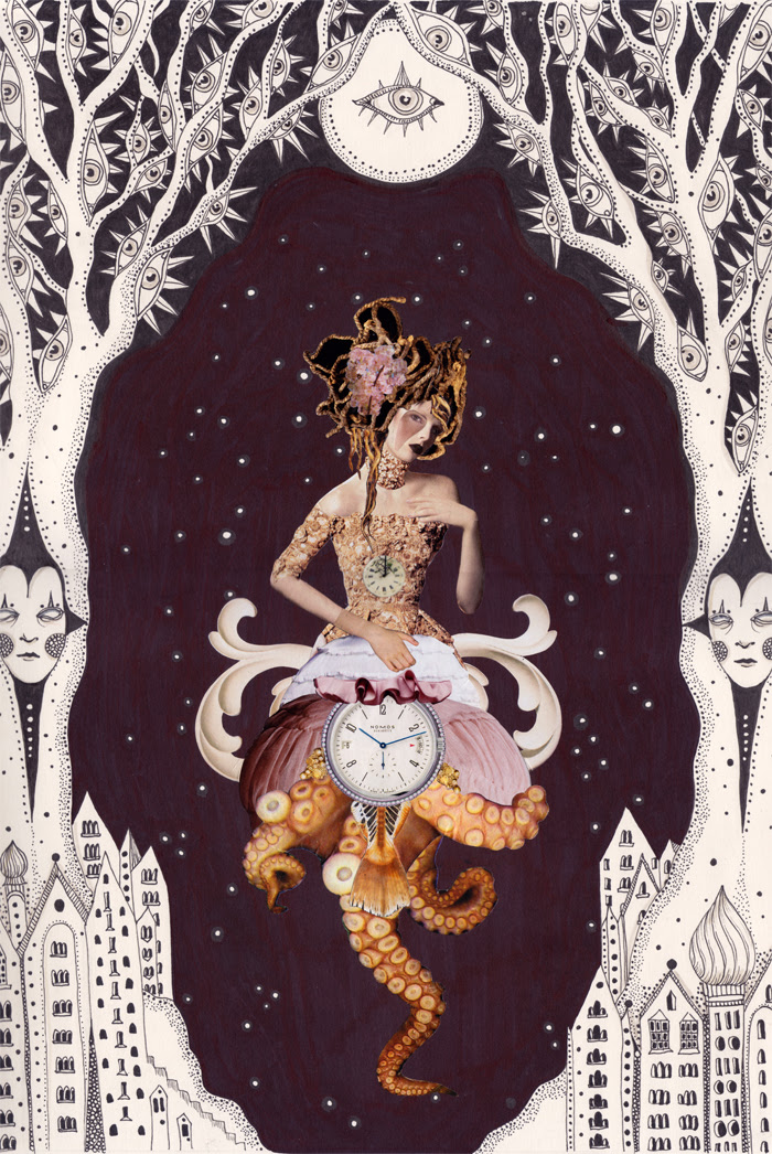 "Nocturnal Curiosity, 13.5""x17"", in collaboration with Daria Hlazatova"
