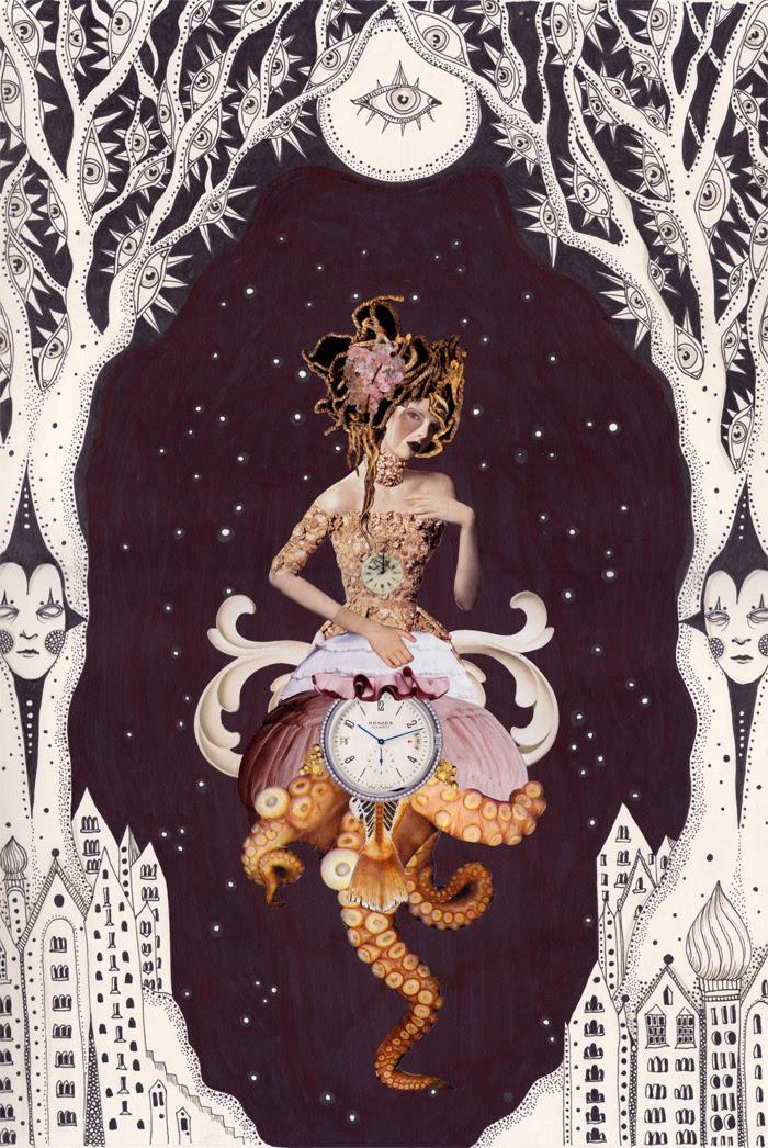 "Nocturnal Curiosity, 13.5""x17"", in collaboration with Daria Hlazatova"
