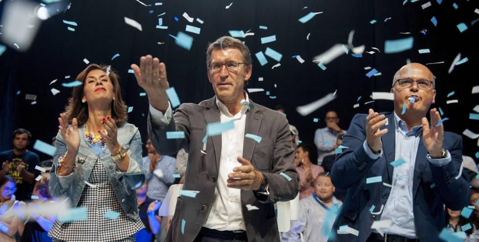 El candidato del PP a la Presidencia de la Xunta, Alberto Núñez Feijóo, durante el cierre de la campaña.