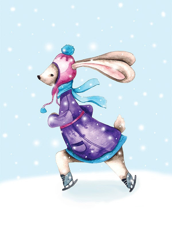Ice Skater Bunny Rabbit Christmas Winter Snowfall Watercolor Illustration Print Coat Hat Scarf