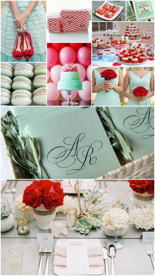 mint green and pomegranate red wedding color theme. Loving that hint of red!