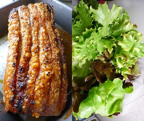 roasted pork belly, lettuce