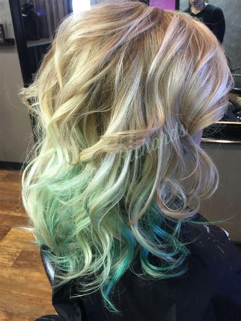 blonde  mint green hair sarah  hair mint green